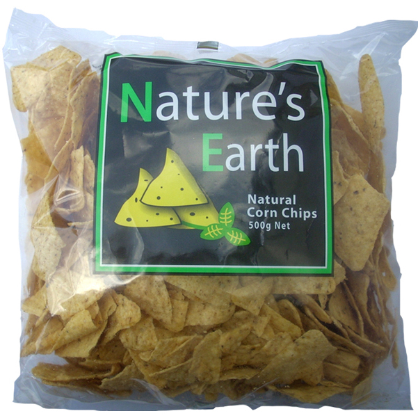 Natures Earth Corn Chips Natural 500g