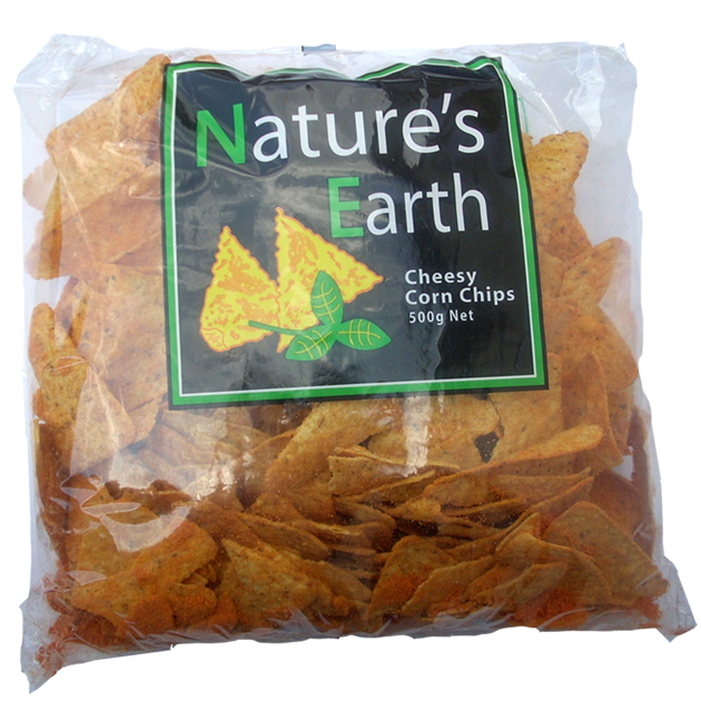 Natures Earth Corn Chips Cheese 500g