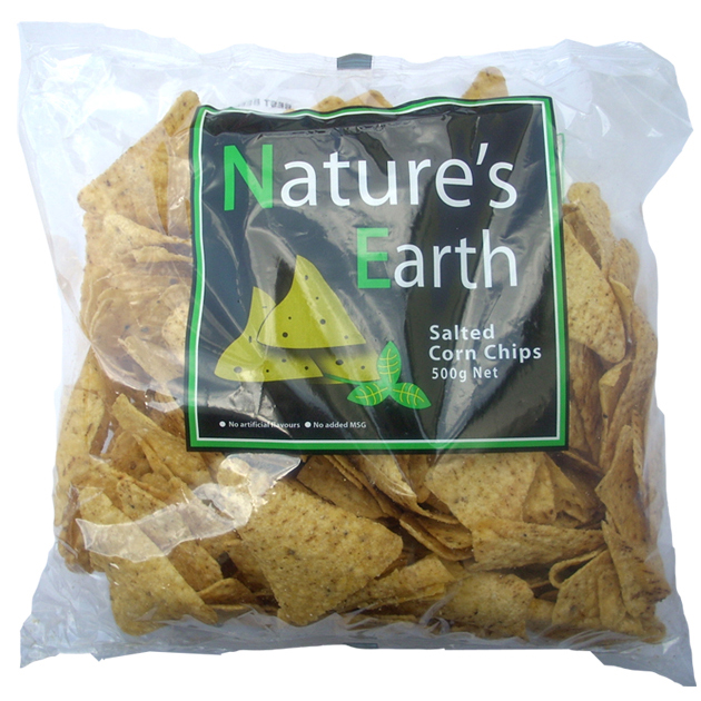 Natures Earth Corn Chips Salted 500g